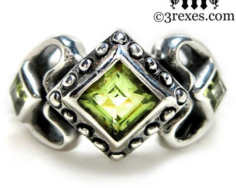 Princess Love Silver Engagement Ring Green Peridot Size 8