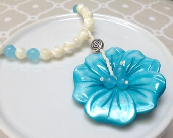 Blue Dyed Shell Flower Pendant and Mother of Pearl Bead Necklace