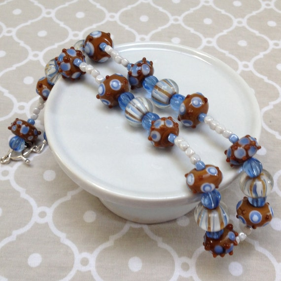 Blue and Brown Beaded Necklace with Glass Accent Beads