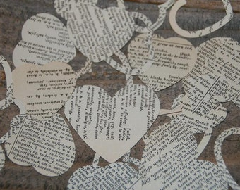 Wedding Confetti-500 Hearts Hand Punched from Vintage Latin-English 1930 Dictionary  - Table Heart Confetti