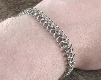 Chainmaille Stainless Steel European 4 in 1 Band Bracelet Small