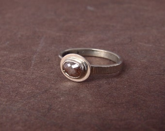 Chocolate Rose Cut Diamond Freeform Oval Engagment Ring Unusual Wedding Band Bezel Set Hammered Texture Solitaire Unique Modern Rustic
