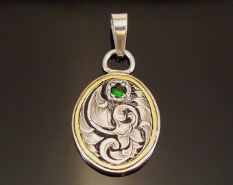 Hand Engraved Sterling Silver and 22k Gold Pendant with Green Russian Chrome Diopside
