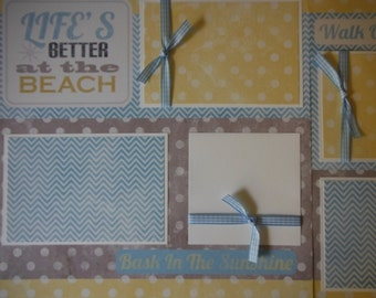 Life's Better at the Beach Premade 12x12 Scrapbook Pages for boy girl family summer Hawaii
