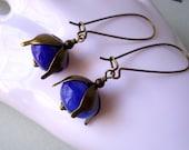 Blue earrings, long cobalt blue earrings, lampwork glass bead, handmade jewelry, oxidized brass, bronze organic leaf flower dangle earrings