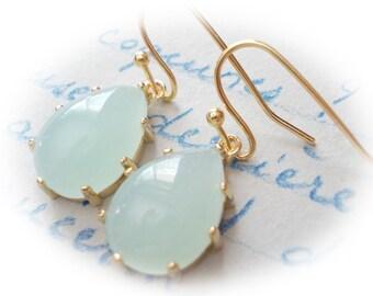 Light  jade teardrop earrings on gold mint green blue opal glass elegant drop faceted fancy dangle drop for women baroque marquise handmade