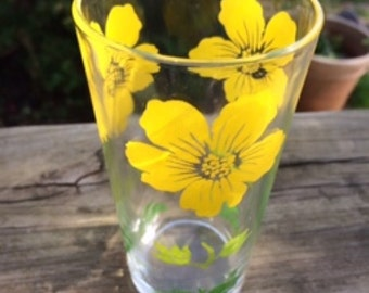 Vintage Sunny Yellow Floral Glass
