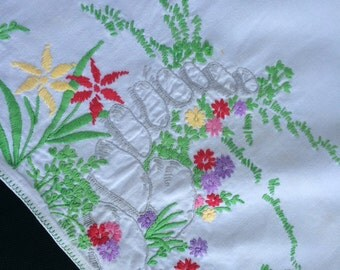 Vintage White Dresser Scarf/Table Runner with Hand Embroidery Flowers and Rocks
