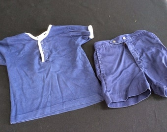 Vintage Buster Brown Size 3 Little Boys Navy Blue and White Shirt and Shorts Outfit