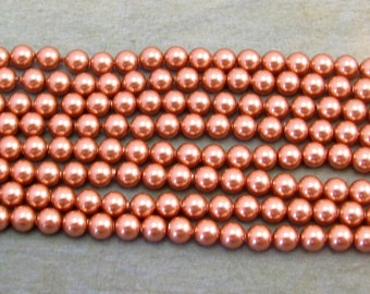 Rose Gold Pearl, Swarovski Elements, 4 MM Round, 50 pieces, RG19