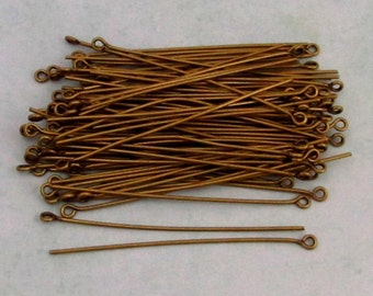 2 Inch Eye Pins, Antique Brass, Brass Ox, 100 pieces, AB85