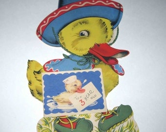 Vintage Over Sized Birthday Greeting Card for Three Year Old with Yellow Duck in Sombrero Hat and Poncho with Small Card Attached on Front