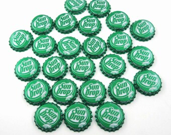 Vintage Bottle Caps Green and White Sun Drop Soda Set of 25