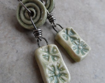 Daisy Fresh ... Ceramic and Sterling Wire-Wrapped Floral, Woodland, Boho Earrings