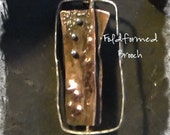 Fold Formed Brooch Sterling Copper Enamel