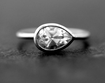 Sideswept White Topaz Gemstone Ring, Size 8 Ready To Ship