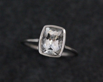 White Topaz Ring In Recycled 14k  Palladium White Gold, Cushion Solitaire Engagement Ring, Made To Order