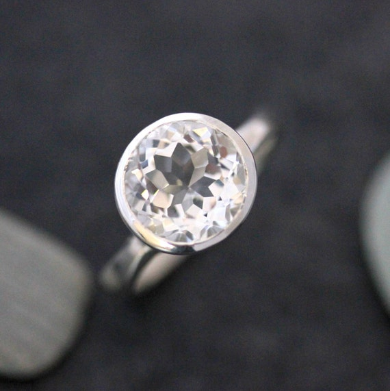 White Topaz Gemstone Ring, Sterling Silver Bezel Ring, Huge Solitaire Gem Ring, Diamond Like Clear Stone Ring