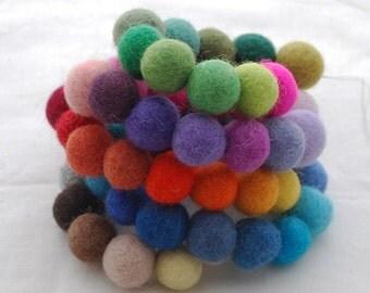 100% Wool Felt Balls - 1.5cm - 60 Count - Assorted Colors