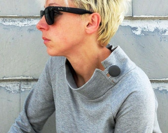 Sweatshirt for women,organic cotton sweatshirt,sweater,gray sweatshirt,organic clothing,high collar sweater,sweaters