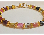 """Watermelon Tourmaline Gemstone Bracelet, Genuine Gems, Gold Plated Metal 7.25"""" Rainbow Colors, in Gold plated or Silver plated"""