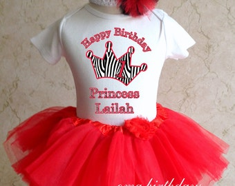 Zebra Princess crown 1st 2nd 3rd Birthday Personalized Name Age Shirt & red Tutu Set outfit girl 6 12 18 24 36m  Baby Headband black