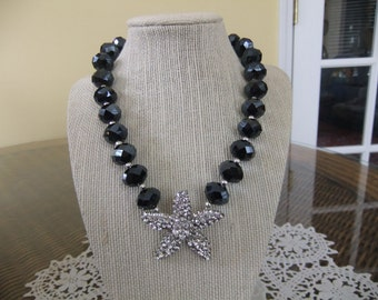 Charcoal - Black Glass Beaded Necklace with Rhinestone Starfish