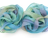 SowZerE -  NEW - Cornflower Meadow   - handmade hand dyed silk chiffon ribbons  for jewellery and craft.