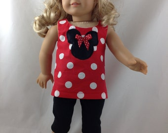 American Girl Doll Capris Pants, Top, Minnie Ears, Shoes, Mickey Mouse Minnie Mouse Polka Dot Disneyland Disney World 18 in with FREE Hanger
