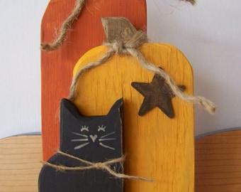 """7.5"""" 3 Piece Wooden Pumpkin Set"""