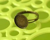 50pcs antique bronze finish adjustable ring bezel blanks - for 12mm Cabochons R09