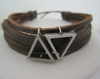 Triangle Vector Leather Wrap Bracelet Cuff Men