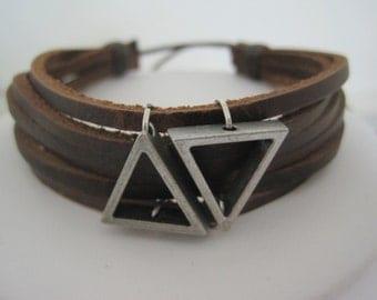 Triangle Vector Leather Wrap Bracelet Cuff