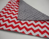 VALENTINE Red Chevron or Dots Minky Blanket