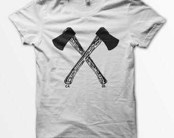 Hatchets unisex white t-shirt