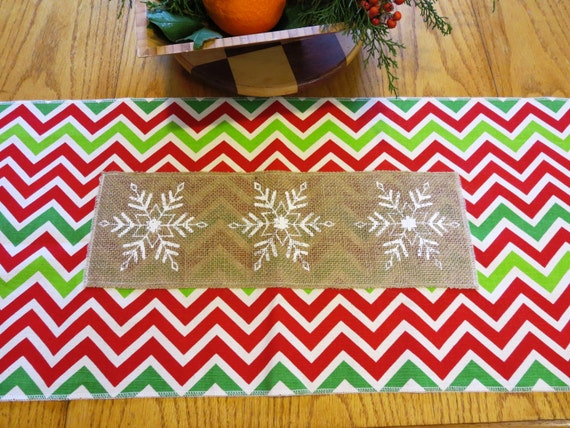 Christmas Table Runner in Chevron and Burlap Snowflakes, Christmas Decor