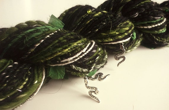 Harry Potter inspired Art Yarn - FRIENDS OF SLYTHERIN - Handspun, Black, White, Green. Silver Snake Charms, Beads. 122 yards, 3.35 oz