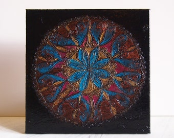 Midnight Bloom - Origninal Texture Acrylic Painting on Linen by ChingTeoh 10 x 10 inch / Mandala / Turquoise / Fuchsia / Gold / Bohemian