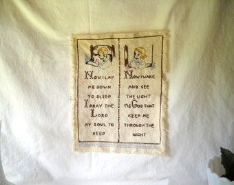 Vintage Needlepoint Vintage Cross Stitch Now I Lay Me Down To Sleep Embroidery  Cottage Chic