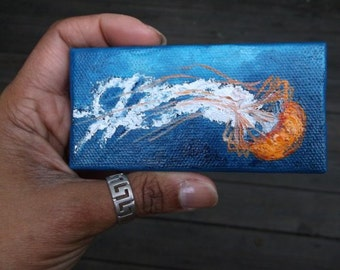 "Mini Oil Painting of Orange Box Jellyfish 2""x 4"" READY to SHIP"
