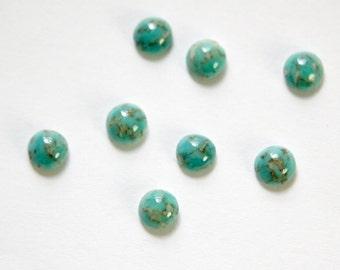 Czech Turquoise Matrix Glass Cabochons 5mm (8) cab840E