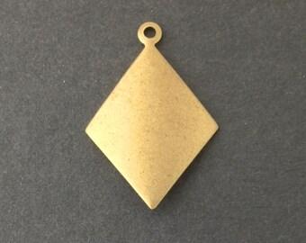 1 Loop Raw Brass Dapped Diamond Charm Pendant (6) mtl435A