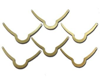 2 Hole Raw Brass Scalloped Connector Pendants (6) mtl045B