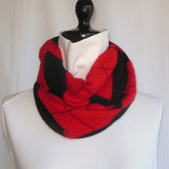 Infinity Cashmere Wool Scarf made from an upcycled black and red argyle sweater