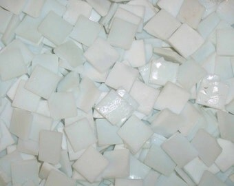 100 1/2 Inch Cloud White Tumbled Stained Glass Mosaic Tiles