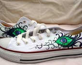 Hand Painted Converse - Peacock Feather Design - Low Tops
