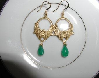 Kelly Green Dangle Earrings with Green Briolettes