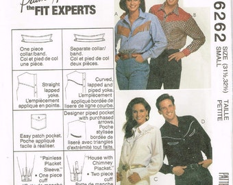 6262 McCall's Misses', Men's or Teen Boys' Western shirt extended shoulders, collar and sleeves sewing pattern size 31.5-32.5 vintage 1990's