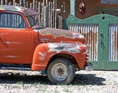Old Orange Chevy Pickup Truck photograph 8x12 wall art New Mexico antique pickup green latillas fence