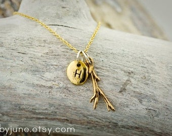 14k Gold and Bronze Pebble Twig Necklace